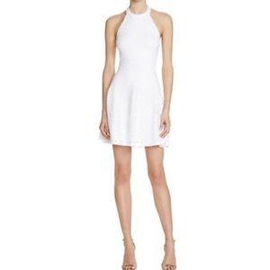Aqua White Eyelet Open Back Halter Casual Dress